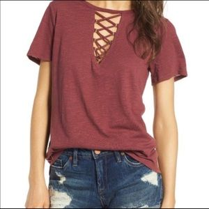 Like New Socialite Grommet Lace Up tee